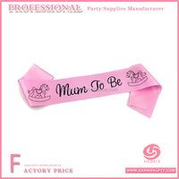 MUM TO BE PINK SATIN SASH RIBBON WEARABLE BANNER BABY SHOWER DECORATION