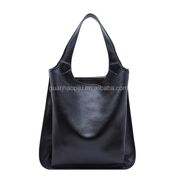Black Small Blank Top Layer Cowhide Leather Tote Bag Weekend Bag For Lady