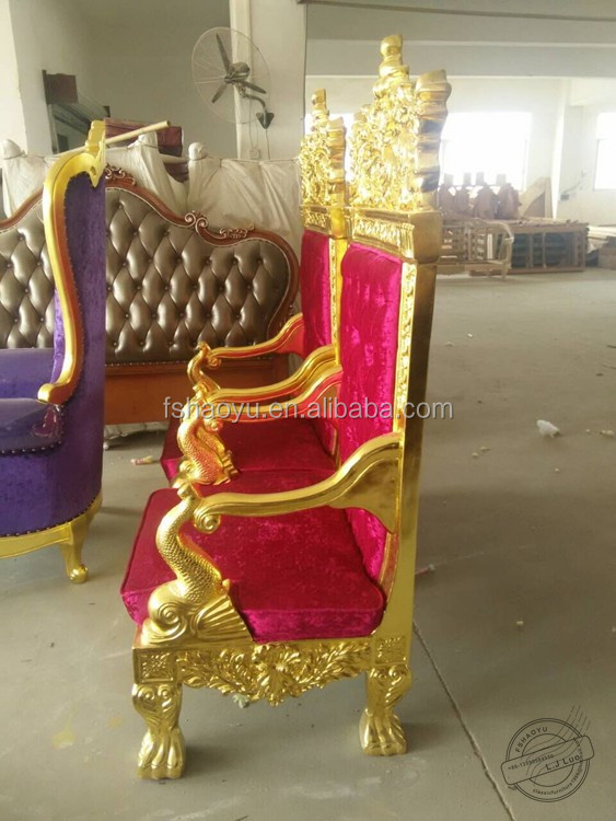 Golden Wood King Throne Chair Red Velvet Cheap King Throne