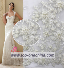 2016 top fashion white beaded lace french net lace swiss french lace for bride wedding dress