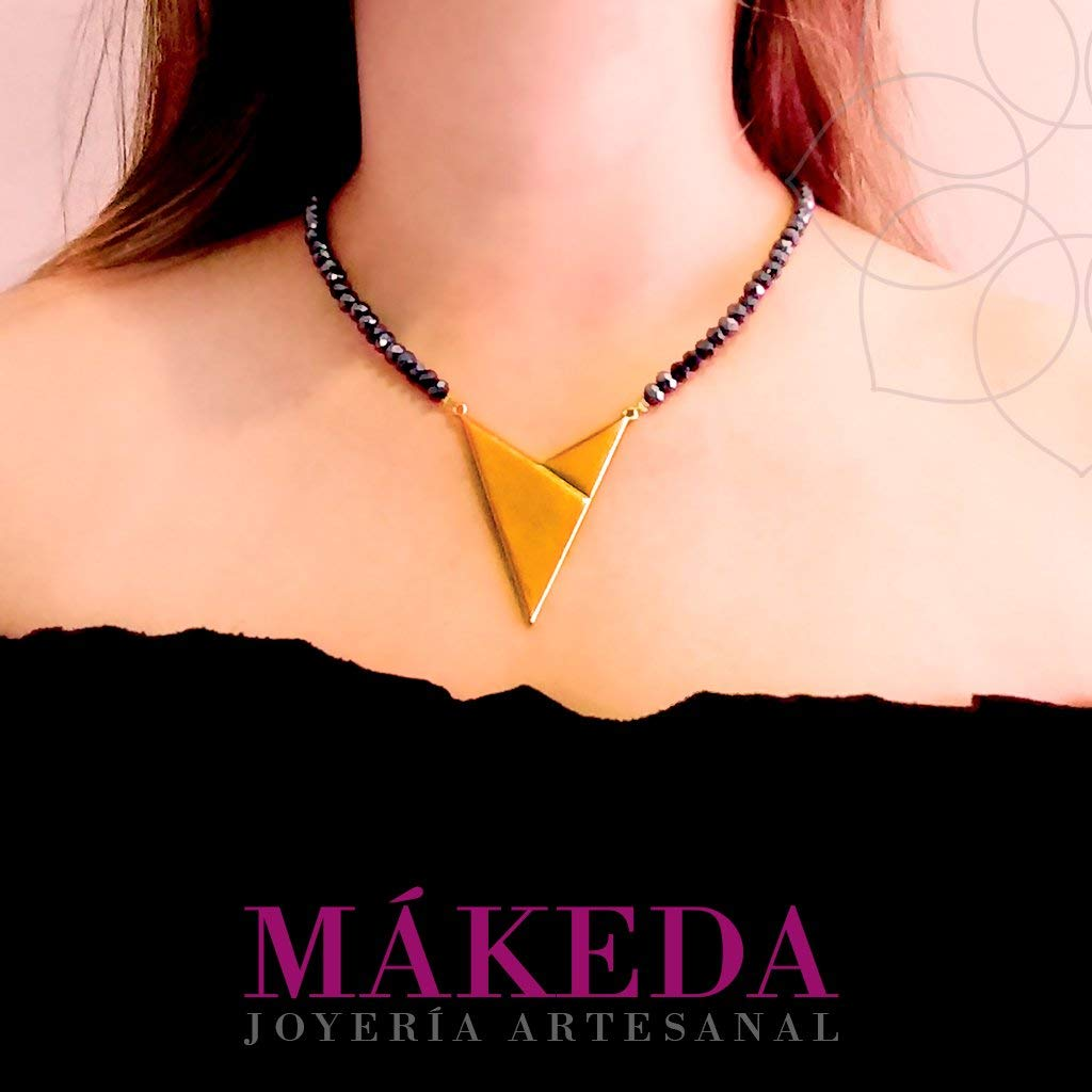 Necklace and Earrings | Gold plate | Gold-plated triangle and steel crystals