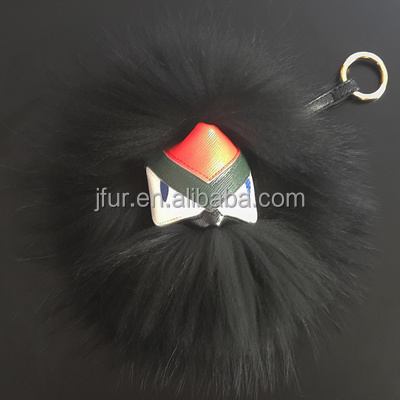 Trendy black Large Monster Bag Charm Fur Pom Poms Keychains Luxury Car keychains of raccoon fur Bird monster