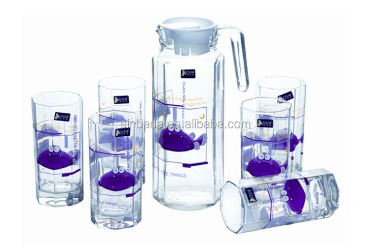New Fancy 7pcs Glass Water Tea Cup Lemon Set