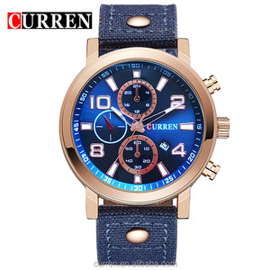 2017 Hot Men Custom Logo Wrist Watch Big Dial Personal Name Branding Face Design Watch Leather Strap OEM Watches For Man