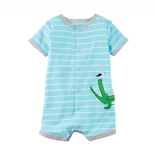 Baby Clothes Boutique Short Sleeve Stripes Cotton Creeper personalized Snaps Design baby bodysuit