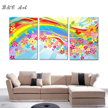 Colorful rainbow picture design print fabric painting for kids room