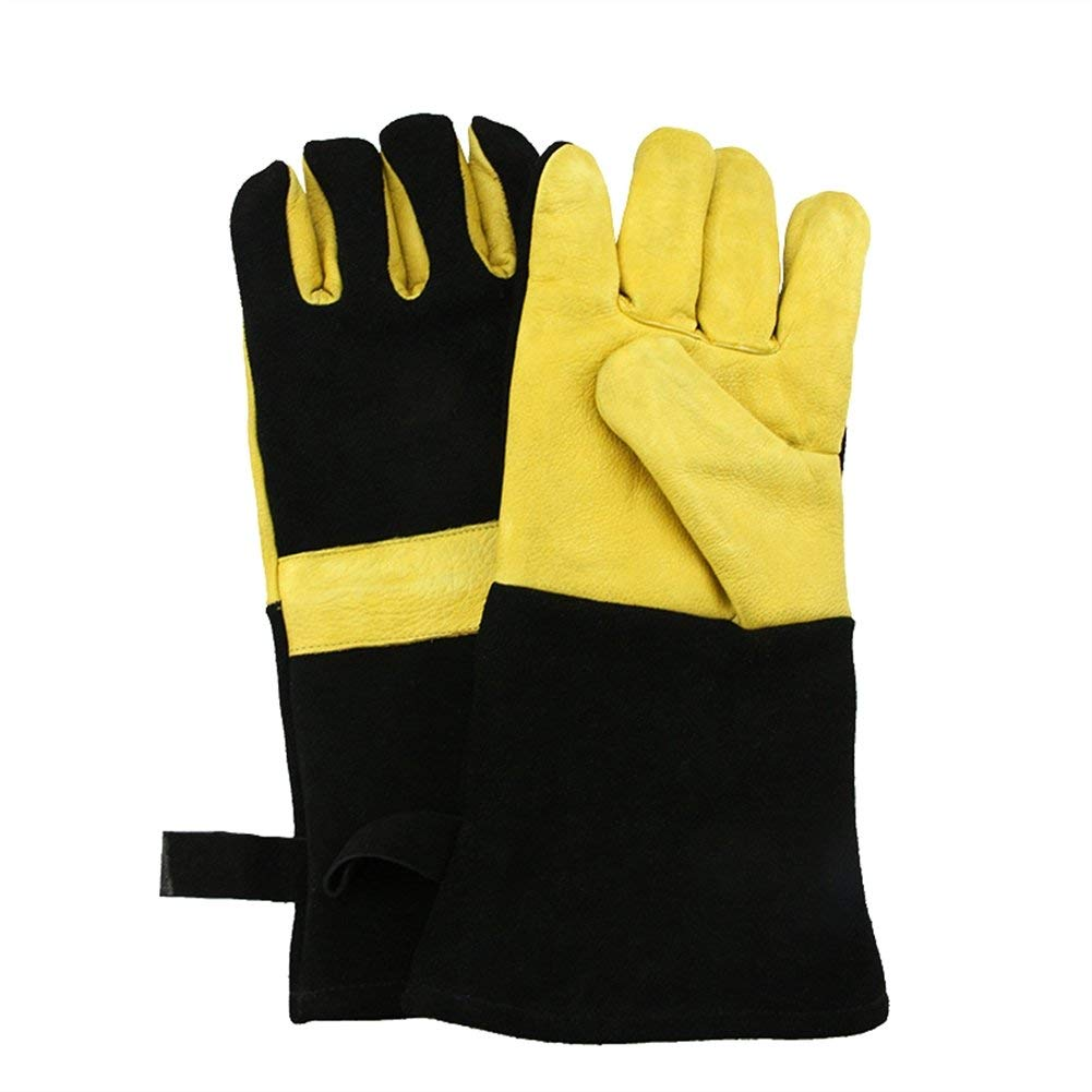 Liveinu Cooking Gloves Heat Resistant Cowhide Leather Barbecue Gloves for Baking,Grilling,BBQ,Oven Gardening Gloves Thorn Proof