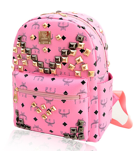 New 2015 Fashion Women leather Backpacks,4 Colors fashion rivet School Backpacks,Korean style Girl Lady bags,printing backpack
