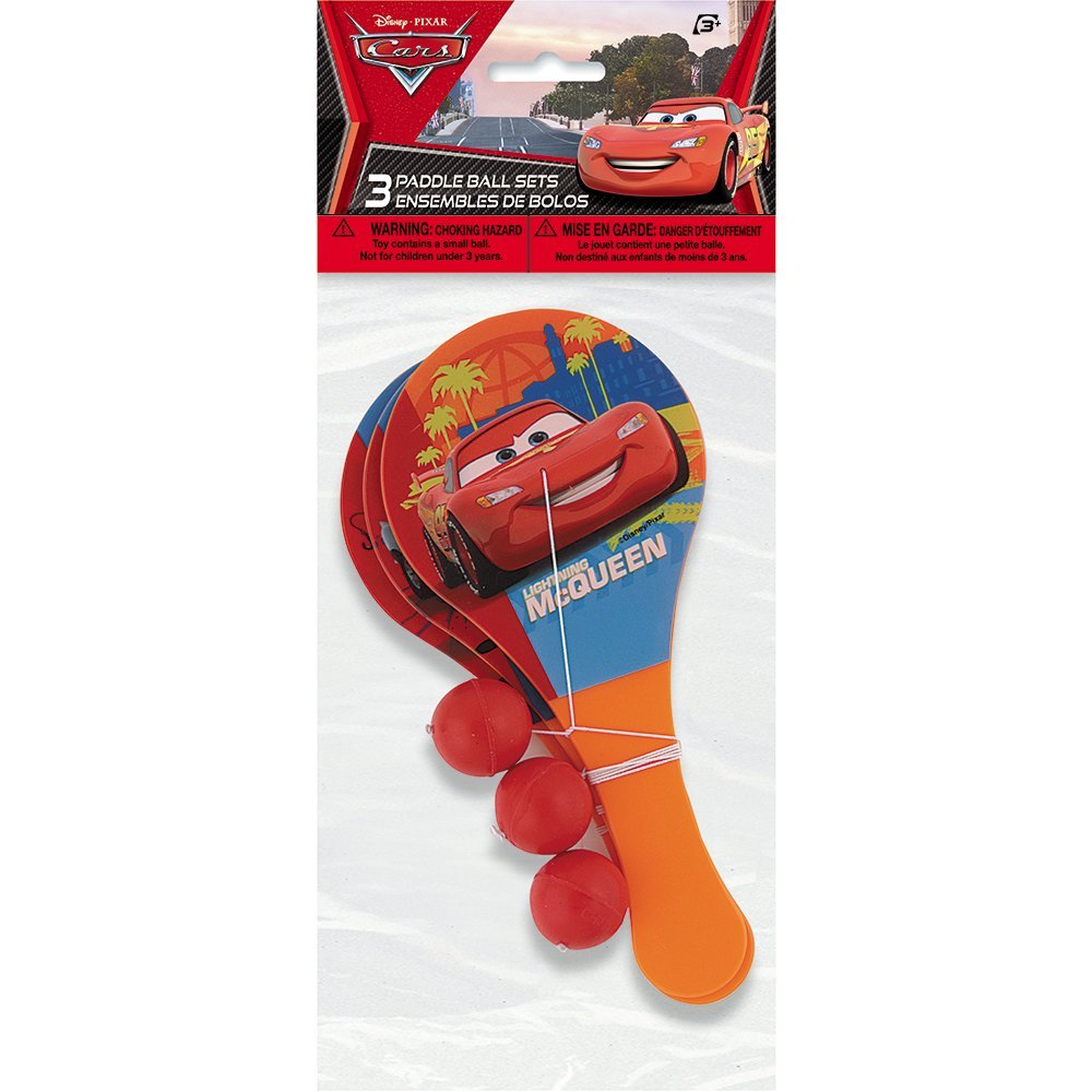 Disney Cars Paddle Ball Game Party Favors, 3ct