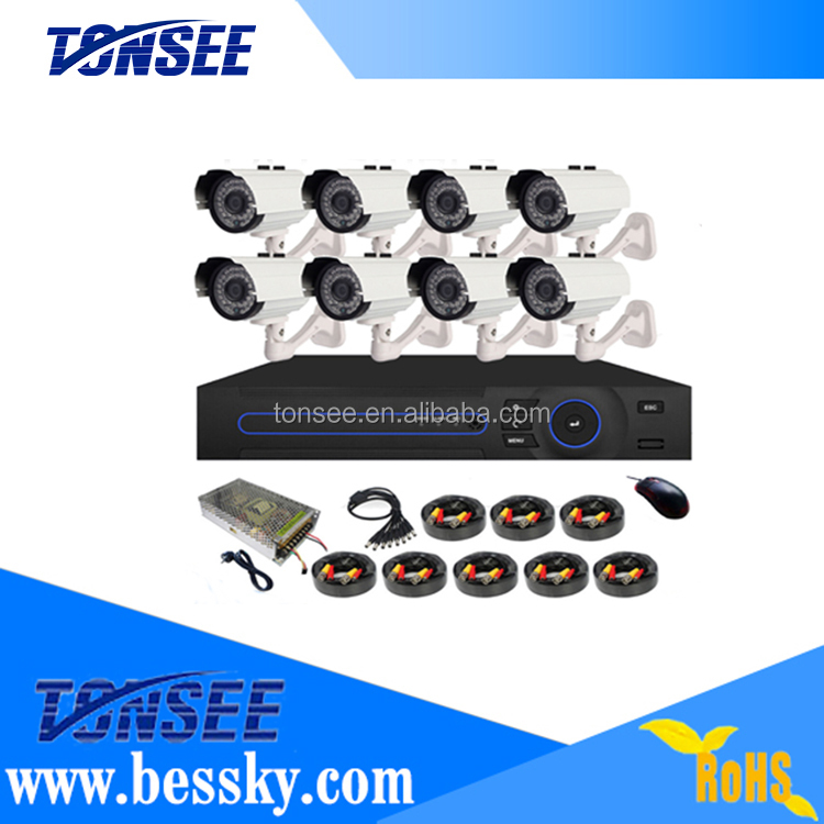 8CH AHD 1CH Audio/Vedio/Alaem Output DVR and 8 PCS 1MP AHD Dome Camera Indoor Outdoor CCTV Camera DVR 8CH Kit