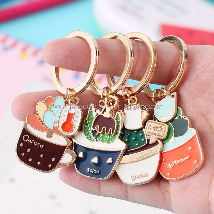 Hot Sale High Quality Colorful Plants Enamel Keychain