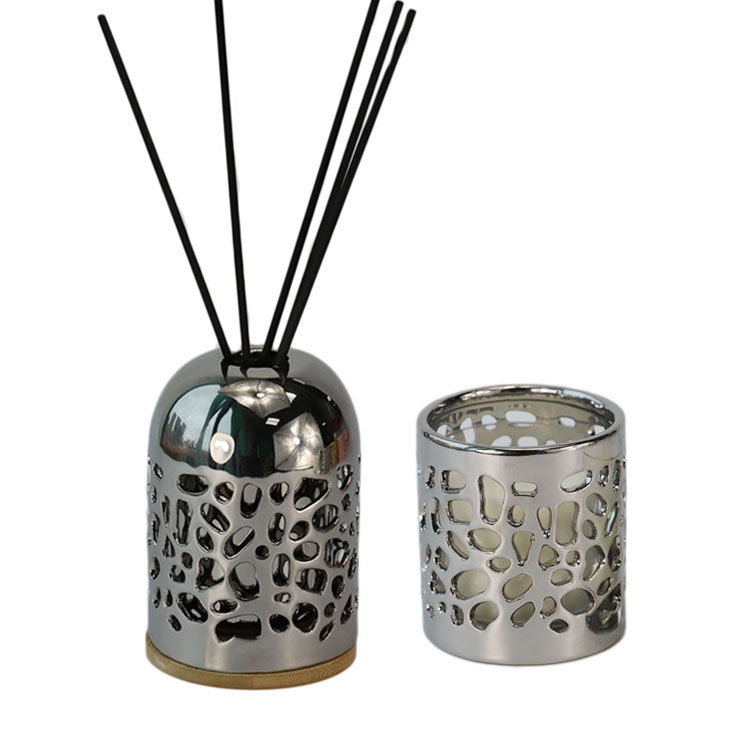 Wholesale aroma reed diffuser ceramic holder with rattan sticks