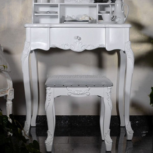 new designed hot sale white painted studying table desk with shelving unit