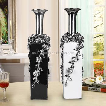 Small Emotional Appeal Home Decor Modern Sliver Ceramic Square Vase