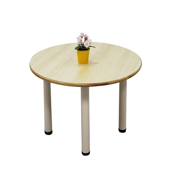 Kindergarten solid wood desktop plus steel leg table