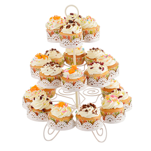 3 tier white cake stand rotating for facilitate hanging cake stand