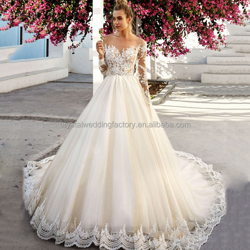 Vestido De Noiva Lace Gelinlik Elegant Boat Neck Appliqued Tulle Bridal Gowns 2017 Long Sleeve A-line Wedding Dresses MW903