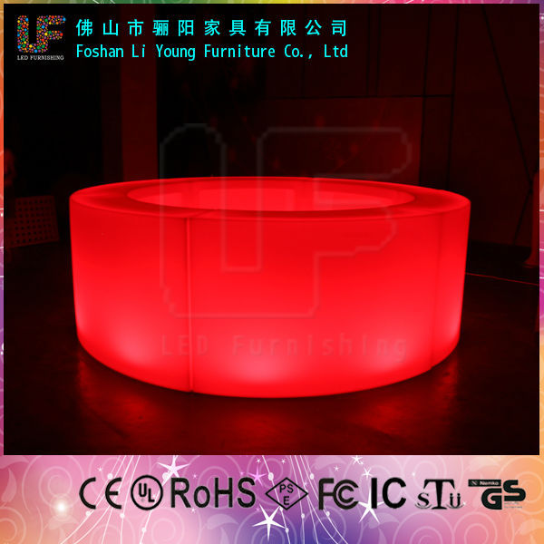 Modern Outdoor PE Plastic Led Light Up Bar Tables Outdoor Event Tables  Illuminated Round Cheap Bar