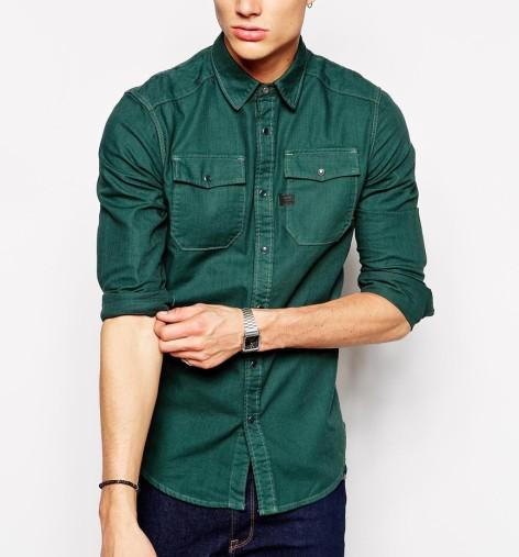 Green Denim Shirt Mens Custom Shirt