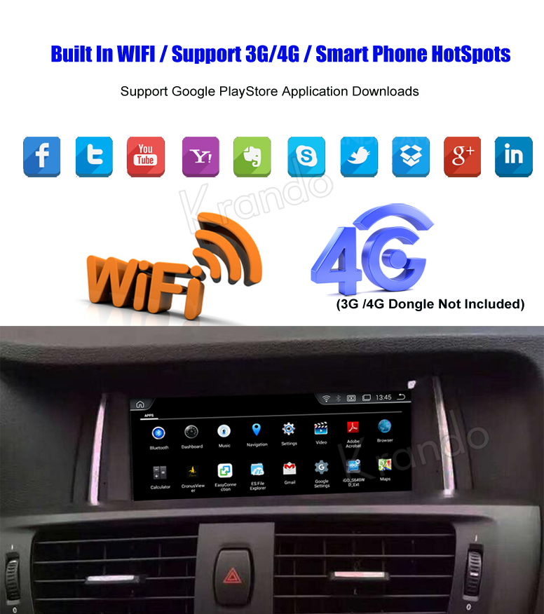 Krando 8.8'' android car radio multimedia for bmw X3 F25 X4 F26 navigation with gps system