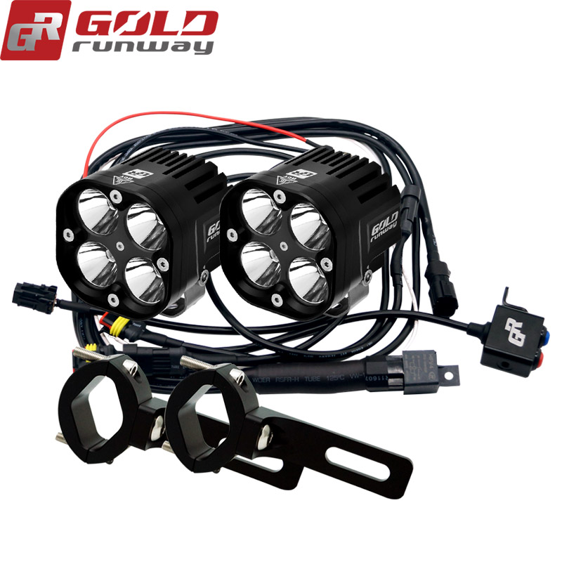 Goldrunway Designs 40X Sport auxiliary motorcycle fog lights lamp Universal LED Lighting Kit