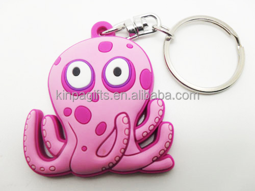 Custom Design Promotion Animal Rubber Octopus Keychain