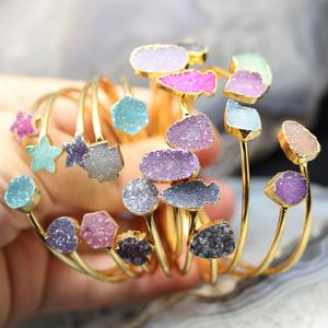 YT-GH369 Popular Delicate Cuff Druzy Bangle,Colorful Druzy Vairous Shape Noble Women Style Bangle,New Gold Bangle Design