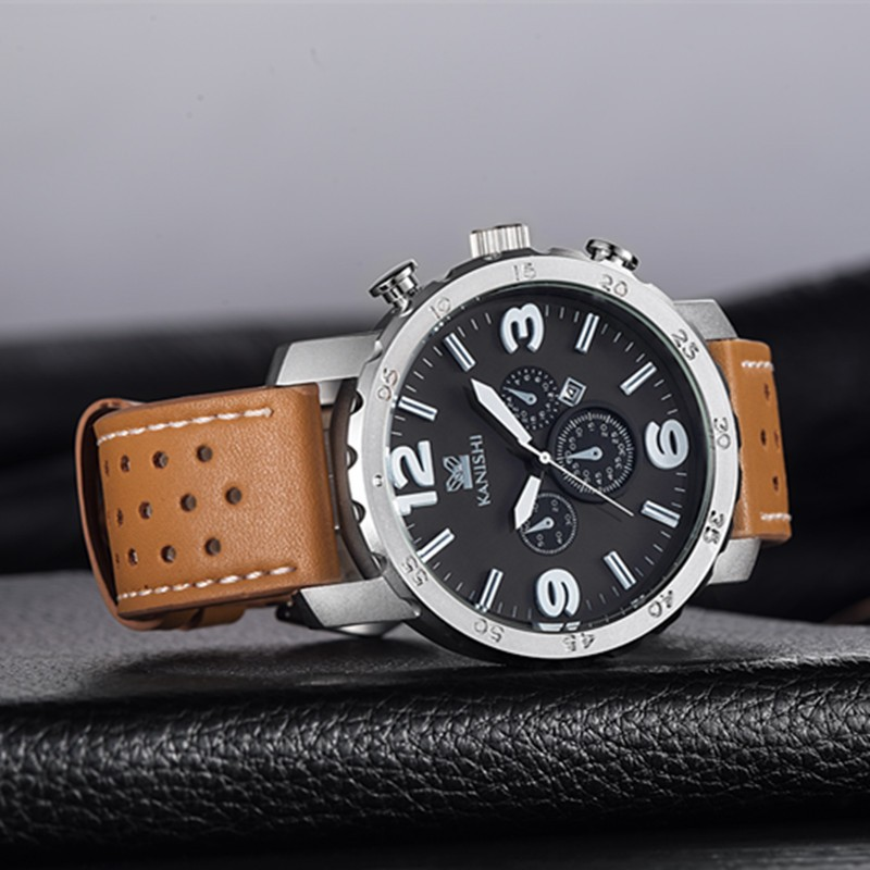 Kanishi Brand Genuine Leather Business Watches With Date Watch Manufacturer Supplier Exporter