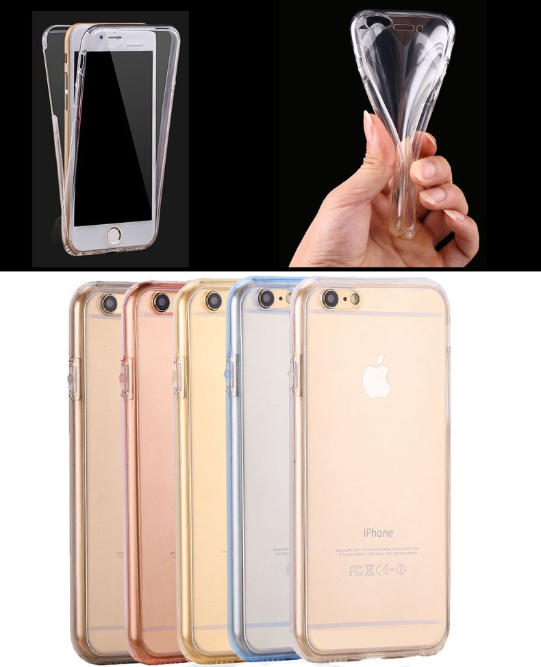 For iPhone 5 /5s Shockproof Back+ Front Transparent TPU Soft Touch Case full body protective Clear Cover