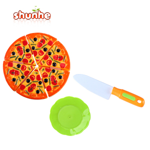 Household play set cutting pizza plastic food toys for sale