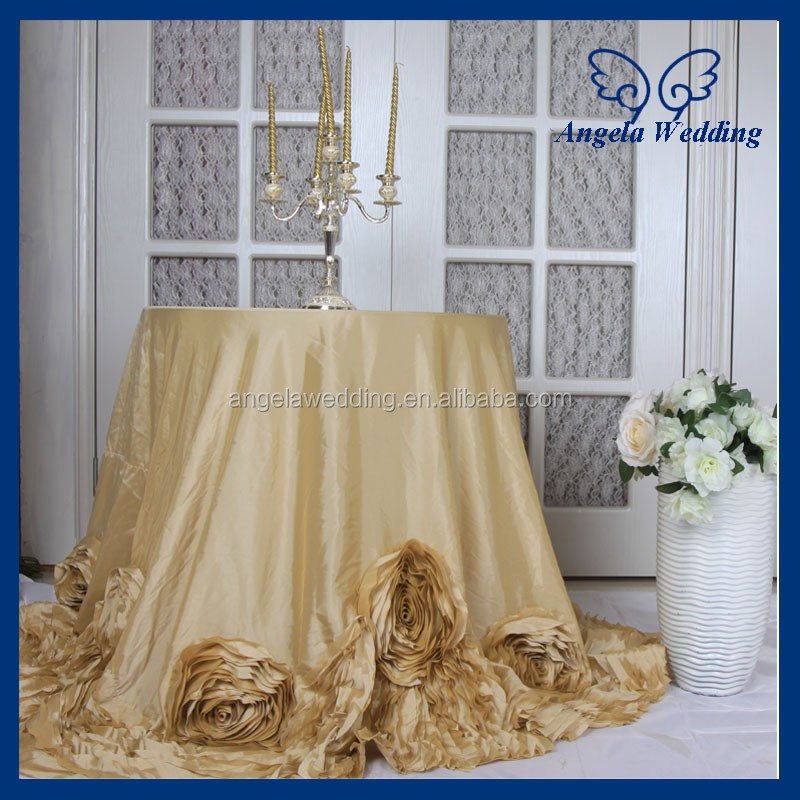 CL052C New Fancy elegant round flower fancy wedding champagne taffeta tablecloths