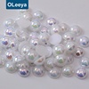 Wholesale free sample loose plastic pearls white ab half round beads half cut artificial pearls beads used clothing
