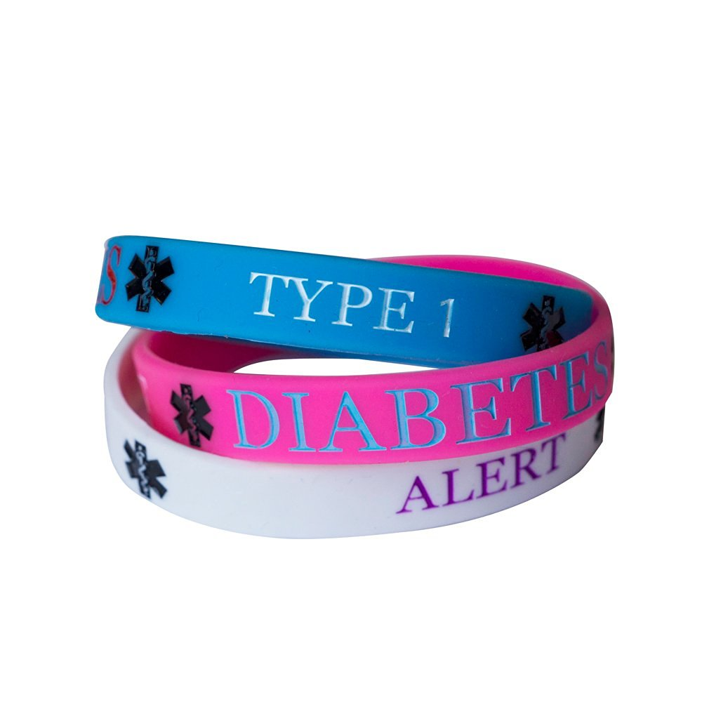 silicone sleek black type american bracelet diabetes medical id