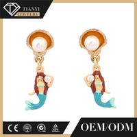 Fashion Enamel Jewelry Stud Earrings For Women Ocean Goddess Mermaid Pearls 2017 Luxury Party Accessories lesnereides