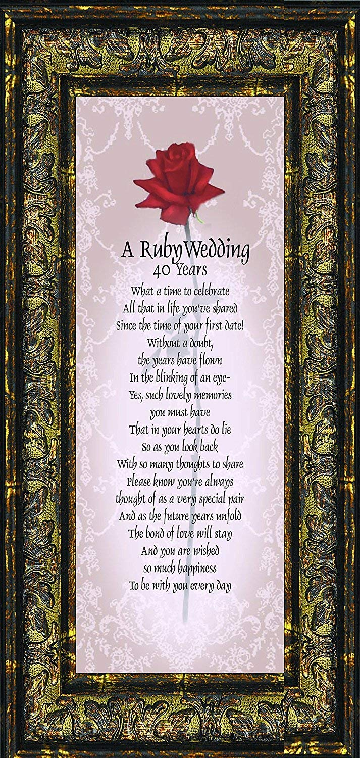 Ruby Anniversary Personalized Wedding Picture Frame 40th 6x12 7776r