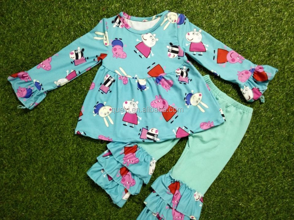 Newborn baby clothes wholesale ruffle pants embroidery for Fabric for kids clothes