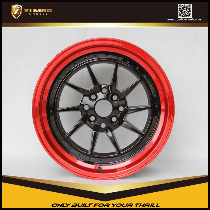"ZUMBO S0057 Black Machine Face+Red Clear Coating 16"" Alloy Wheel Rims mirror alloys rims"