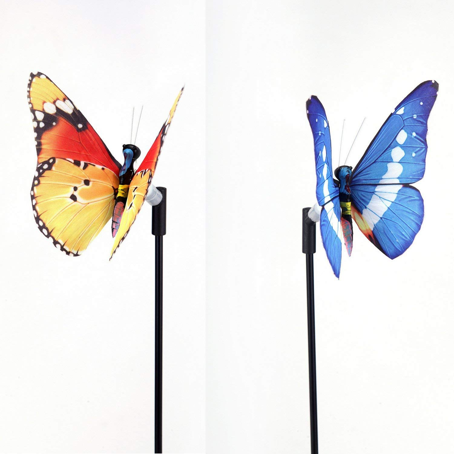 Solar Powered Butterfly LED Decorative Light Lamp for Outdoor Garden Fence Pathway Stairs Light Lamp Step Light - Light stick style (2 in 1 pack - Random Colors) (Non-LED Stick)