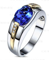 Mens Ring 18k Multi-Tone Gold 1.58ct Oval Natural 3A Blue Tanzanite 0.06ct Diamond Engagement Ring Wholesale Jewelry