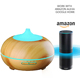 Patent aroma diffuser private labels 300 ML APP Voice Control Work with Alexa Echo Wood Grain Ultrasonic Aromatherapy Humidifier