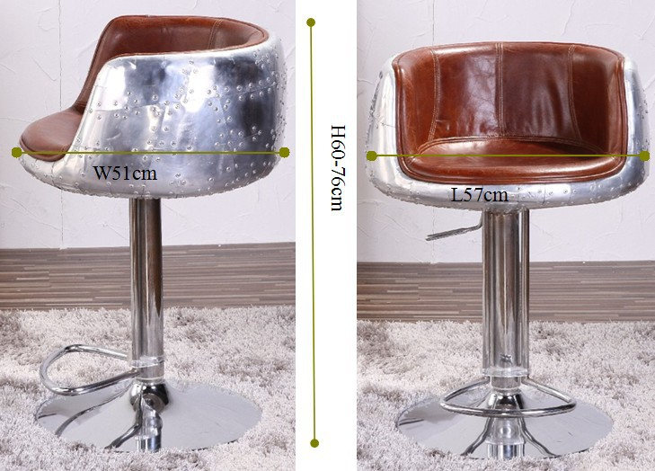 Retro Vintage Leather Aviation Industrial Swivel Bar Stool