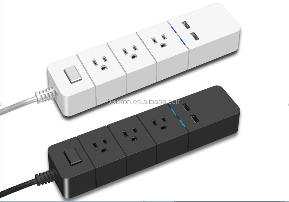 US Type Electrical AC Power Strip 3 Outlets USB Power Strip with 10ft cord