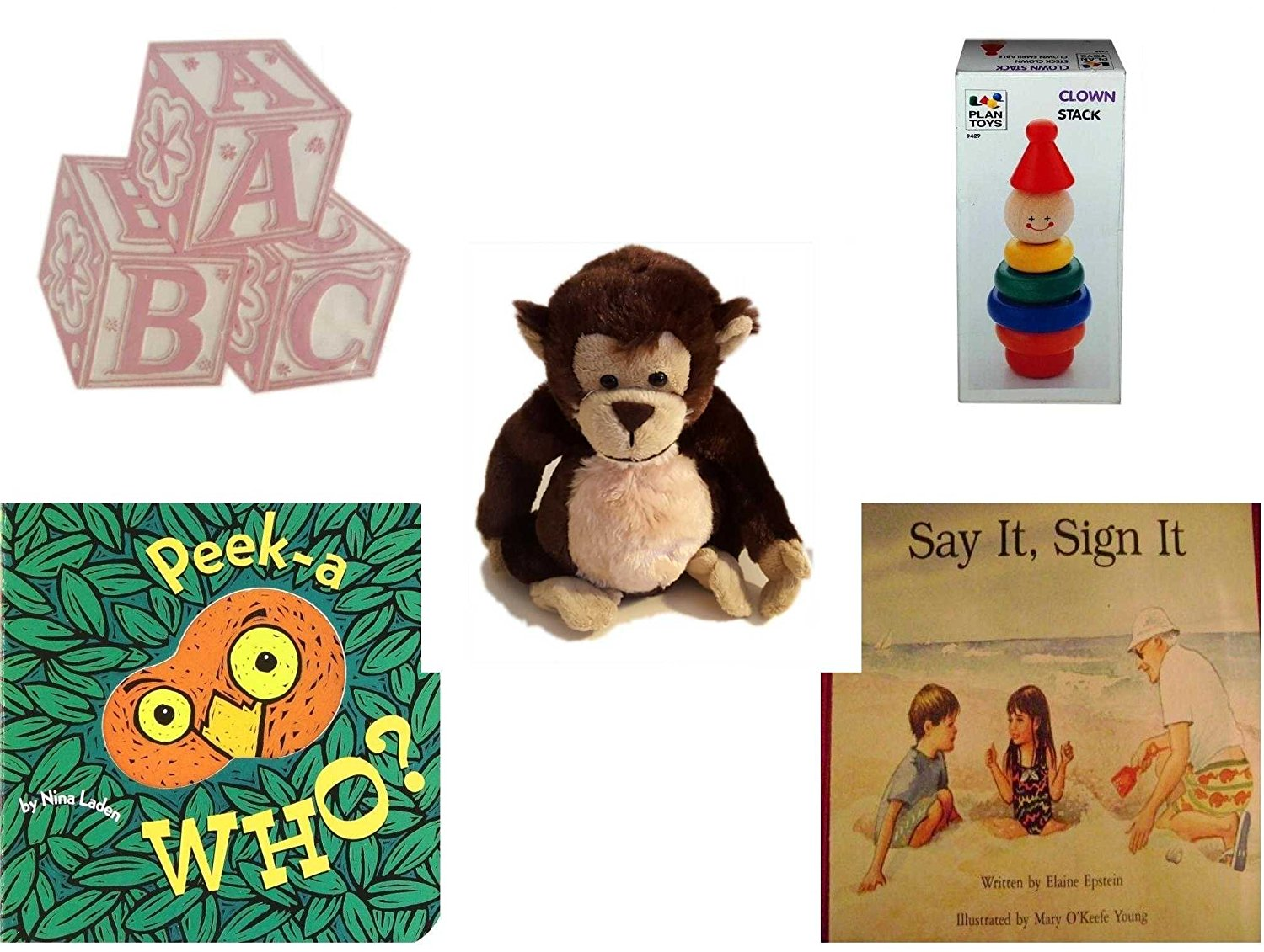 Children's Gift Bundle - Ages 0-2 [5 Piece] - ABC Baby Blocks Cake Topper Pink Girl - Clown Stack - Ganz Adorable Chimpanzee Plush - Peek-a-WHO? Board Book - Say It, Sign It