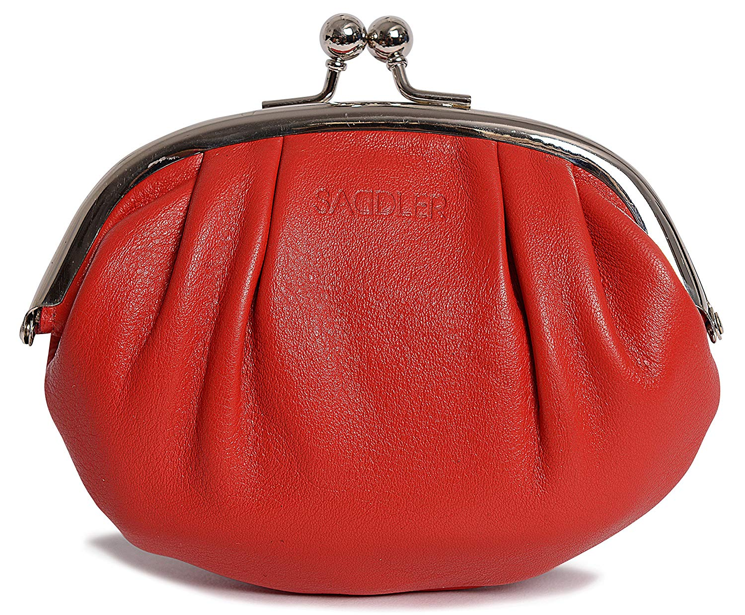 37cf5625f0a Get Quotations · SADDLER Womens Leather Metal Frame Coins and Key Purse -  Inner Card Holder - Red