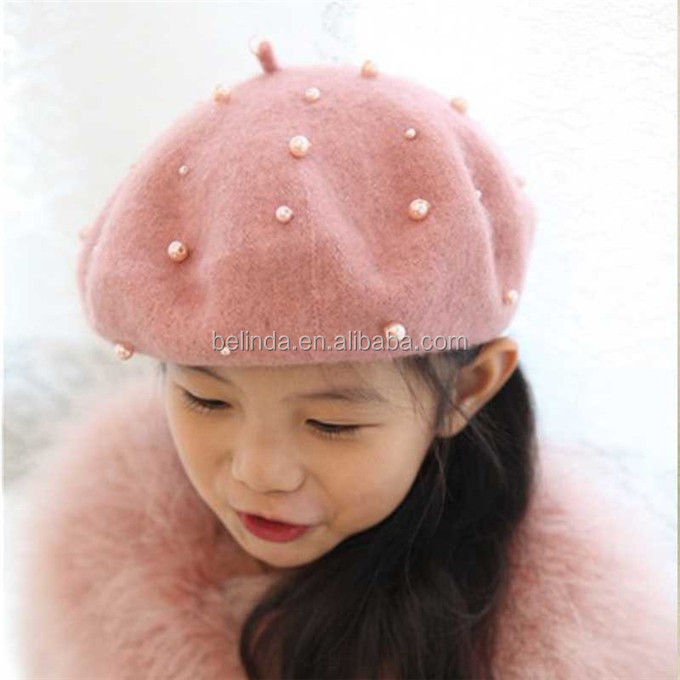 Beret Baby Girls Pearl Felt Beret Multicolor Painter Hat for Children 4e2f6e2ed31