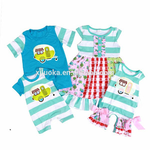 Baby girls and boys matching clothes family outfit infant romper dress shirts clothing sets