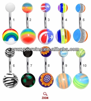 mix order no MOQ different kinds style picture logo fashion UV acrylic Fancy Belly Ring