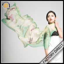 High quality digital printed Japanese silk scarf by manufactory