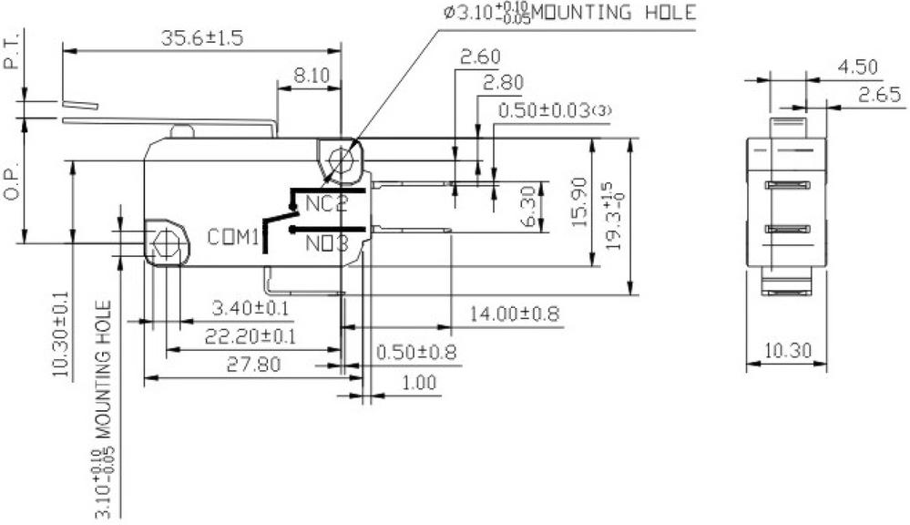 spdt hi u00e7bir nc kontak  u00dc u00e7 6 3mm terminalleri ani hareketli anahtar u0131 elektrik kolu mikro switch