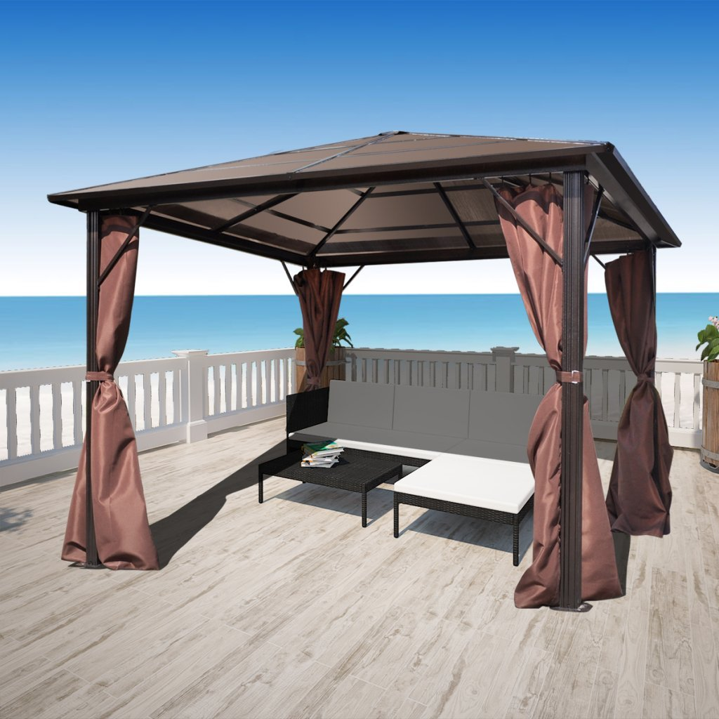 Anself 10' x 10' UV-resistant Gazebo Canopy with 4 Sidewall Curtains, Aluminum Frame, Brown